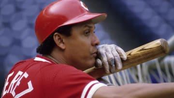 CINCINNATI, OH - AUGUST 1984: Tony Perez #14 of the Cincinnati Reds (Photo by Ronald C. Modra/Getty Images)