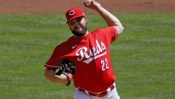 CINCINNATI, OHIO - APRIL 18: Wade Miley #22 of the Cincinnati Reds pitches in the first inning. (Photo by Dylan Buell/Getty Images)