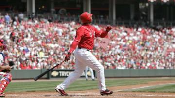 CINCINNATI - APRIL 6: Ken Griffey of the Cincinnati Reds bats during the game against the Philadelphia Phillies. (Photo by John Reid III/MLB Photos via Getty Images)