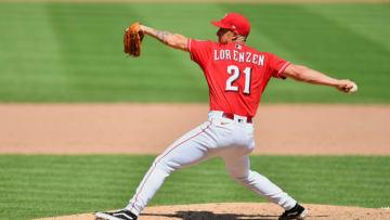 CINCINNATI, OH - JULY 26: Michael Lorenzen #21 of the Cincinnati Reds pitches. (Photo by Jamie Sabau/Getty Images)