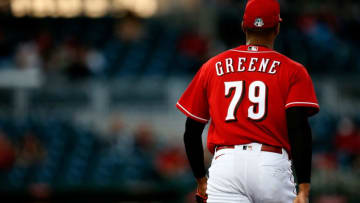 Cincinnati Reds starting pitcher Hunter Greene (79) returns to the dugout at Goodyear Ballpark in Goodyear, Ariz., on Tuesday, March 2, 2021. Los Angeles Angels At Cincinnati Reds