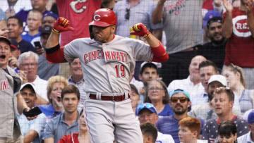 Jul 28, 2021; Chicago, Illinois, USA; Cincinnati Reds first baseman Joey Votto (19) gestures as he crosses home plate. Mandatory Credit: David Banks-USA TODAY Sports