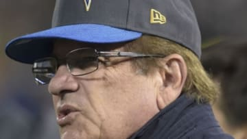 Dec 24, 2015; Oakland, CA, USA; San Diego Chargers president Dean Spanos reacts during an NFL football game against the Oakland Raiders at O.co Coliseum. The Raiders defeated the Chargers 23-20 in overtime. Mandatory Credit: Kirby Lee-USA TODAY Sports