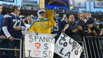Dec 20, 2015; San Diego, CA, USA; San Diego Chargers fans hold sign relating to the potential move to Los Angeles after the season after the game against the Miami Dolphins at Qualcomm Stadium. The Chargers beat the Dolphins 30-14. Mandatory Credit: Jake Roth-USA TODAY Sports