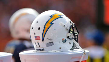 Sep 20, 2015; Cincinnati, OH, USA; A general view of San Diego Chargers wide receiver Steve Johnson (not pictured) helmet during the game of the San Diego Chargers against the Cincinnati Bengals at Paul Brown Stadium. The Bengals won 24-19. Mandatory Credit: Aaron Doster-USA TODAY Sports