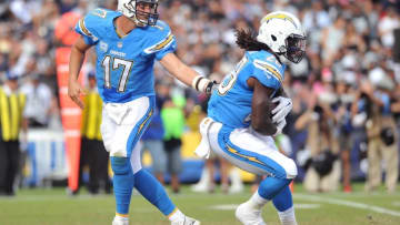 Oct 25, 2015; San Diego, CA, USA; San Diego Chargers quarterback Philip Rivers (17) hands off to running back Melvin Gordon (28) during the second half of the game against the Oakland Raiders at Qualcomm Stadium. Oakland won 37-29. Mandatory Credit: Orlando Ramirez-USA TODAY Sports
