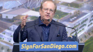 Apr 23, 2016; San Diego, CA, USA; San Diego Chargers owner Dean Spanos speaks during rally to gather signatures for citizen