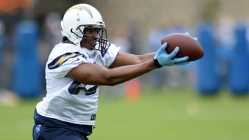 Jun 14, 2016; San Diego, CA, USA; San Diego Chargers tight end Antonio Gates (85) catches a pass during minicamp at Charger Park. Mandatory Credit: Jake Roth-USA TODAY Sports