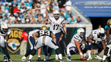 Nov 29, 2015; Jacksonville, FL, USA; San Diego Chargers quarterback Philip Rivers (17) signals against the Jacksonville Jaguars at EverBank Field. The Chargers won 31-25. Mandatory Credit: Jim Steve-USA TODAY Sports