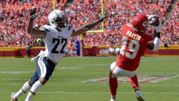 Sep 11, 2016; Kansas City, MO, USA; Kansas City Chiefs wide receiver Jeremy Maclin (19) catches a pass and goes in for a touchdown as San Diego Chargers running back Kenneth Farrow (27) tries to defend during the second half at Arrowhead Stadium. The Chiefs won 33-27 in overtime. Mandatory Credit: Denny Medley-USA TODAY Sports