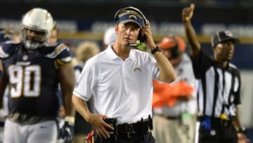 Sep 1, 2016; San Diego, CA, USA; San Diego Chargers head coach Mike McCoy looks on during the fourth quarter against the San Francisco 49ers at Qualcomm Stadium. Mandatory Credit: Jake Roth-USA TODAY Sports