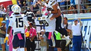 Oct 2, 2016; San Diego, CA, USA; San Diego Chargers tight end Hunter Henry (86) celebrates with teammates after scoring a touchdown during the first quarter against the New Orleans Saints at Qualcomm Stadium. Mandatory Credit: Jake Roth-USA TODAY Sports