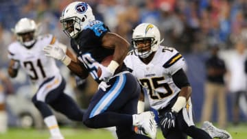 Aug 13, 2016; Nashville, TN, USA; Tennessee Titans running back DeMarco Murray (29) carries the ball away from San Diego Chargers defensive back Darrell Stuckey (25) during the first half at Nissan Stadium. Mandatory Credit: Joshua Lindsey-USA TODAY Sports