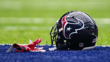 Sep 18, 2016; Houston, TX, USA; General view of a Houston Texans helmet and gloves before a game against the Kansas City Chiefs at NRG Stadium. Mandatory Credit: Troy Taormina-USA TODAY Sports
