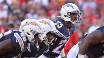 Dec 4, 2016; San Diego, CA, USA; San Diego Chargers defensive back Darrell Stuckey (25) looks across the line before the snap during the second half against the Tampa Bay Buccaneers at Qualcomm Stadium. Tampa Bay won 28-21. Mandatory Credit: Orlando Ramirez-USA TODAY Sports