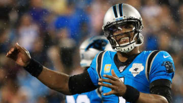 CHARLOTTE, NORTH CAROLINA - SEPTEMBER 12: Quarterback Cam Newton #1 of the Carolina Panthers reacts in the first quarter of the game against the Tampa Bay Buccaneers at Bank of America Stadium on September 12, 2019 in Charlotte, North Carolina. (Photo by Streeter Lecka/Getty Images)
