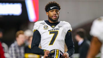 ATHENS, GA - NOVEMBER 9: Kelly Bryant #7 of the Missouri Tigers looks on prior to the start of a game against the Georgia Bulldogs at Sanford Stadium on November 9, 2019 in Athens, Georgia. (Photo by Carmen Mandato/Getty Images)