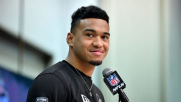 INDIANAPOLIS, INDIANA - FEBRUARY 25: Tua Tagovailoa #QB17 of Alabama interviews during the first day of the NFL Scouting Combine at Lucas Oil Stadium on February 25, 2020 in Indianapolis, Indiana. (Photo by Alika Jenner/Getty Images)