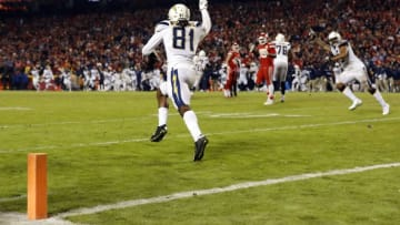 KANSAS CITY, MISSOURI - DECEMBER 13: Wide receiver Mike Williams #81 of the Los Angeles Chargers celebrates after catching the two point conversion with 4 seconds remaining in the game to put the Chargers up 29-28 on the Kansas City Chiefs at Arrowhead Stadium on December 13, 2018 in Kansas City, Missouri. (Photo by David Eulitt/Getty Images)