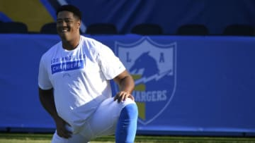 CARSON, CA - AUGUST 24: Trey Pipkins #79 of the Los Angeles Chargers stretches before a preseason game against the Seattle Seahawks at Dignity Health Sports Park on August 24, 2019 in Carson, California. (Photo by John McCoy/Getty Images)