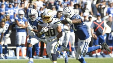 CARSON, CA - SEPTEMBER 08: Running back Austin Ekeler #30 of the Los Angeles Chargers rushes for a gain against defensive tackle Al-Quadin Muhammad #97 of the Indianapolis Colts during overtime at Dignity Health Sports Park on September 8, 2019 in Carson, California. (Photo by Kevork Djansezian/Getty Images)