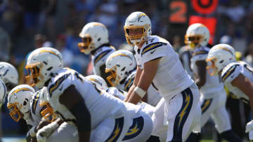 CARSON, CALIFORNIA - SEPTEMBER 08: Philip Rivers #17 of the Los Angeles Chargers calls a play from the line of scrimmage during the first half of a game against the Indianapolis Colts at Dignity Health Sports Park on September 08, 2019 in Carson, California. (Photo by Sean M. Haffey/Getty Images)