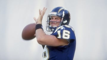 8 Aug 1998: Quarterback Ryan Leaf #16 of the San Diego Chargers prepares to throw the ball during a pre-season game against the San Francisco 49ers at the Qualcomm Stadium in San Diego, California. The Chargers defeated the 49ers 27-21.