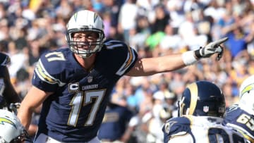 SAN DIEGO, CA - NOVEMBER 23: Quarterback Philip Rivers #17 of the San Diego Chargers signals at the line of scrimmage in the game against the St. Louis Rams at Qualcomm Stadium on November 23, 2014 in San Diego, California. (Photo by Stephen Dunn/Getty Images)