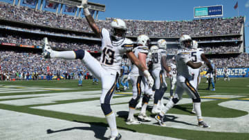 SAN DIEGO, CA - SEPTEMBER 13: Wide receiver Keenan Allen #13 of the San Diego Chargers celebrates after a Chargers touchdown against the Detroit Lions at Qualcomm Stadium on September 13, 2015 in San Diego, California. (Photo by Stephen Dunn/Getty Images)
