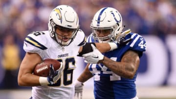 INDIANAPOLIS, IN - SEPTEMBER 25: Hunter Henry #86 of the San Diego Chargers is pursued by Antonio Morrison #44 of the Indianapolis Colts during the first half of a game at Lucas Oil Stadium on September 25, 2016 in Indianapolis, Indiana. (Photo by Stacy Revere/Getty Images)