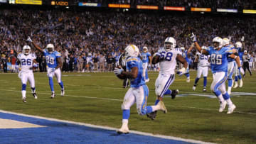SAN DIEGO - JANUARY 03: Darren Sproles #43 of the San Diego Chargers scores the winning touchdown against the Indianapolis Colts during their AFC Wild Card Game on January 3, 2009 at Qualcomm Stadium in San Diego, California. (Photo by Harry How/Getty Images)