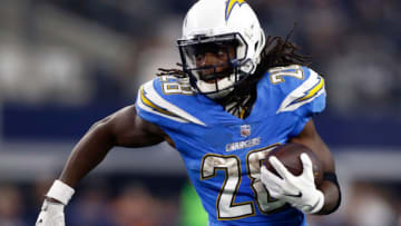 ARLINGTON, TX - NOVEMBER 23: Melvin Gordon #28 of the Los Angeles Chargers carries the ball in the second half of a game against the Dallas Cowboys at AT&T Stadium on November 23, 2017 in Arlington, Texas. (Photo by Wesley Hitt/Getty Images)