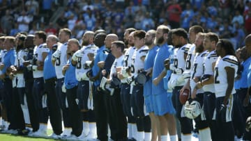 CARSON, CA - SEPTEMBER 24: The Los Angeles Chargers during the National Anthem before the game against the Kansas City Chiefs at the StubHub Center on September 24, 2017 in Carson, California. (Photo by Jeff Gross/Getty Images)