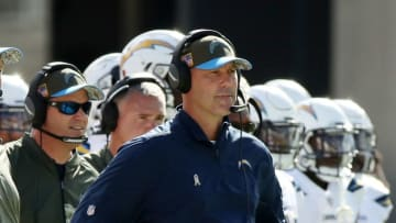 JACKSONVILLE, FL - NOVEMBER 12: Defensive coordinator for the Los Angeles Chargers Gus Bradley watches the play on the field during the first half of their game against the Jacksonville Jaguars at EverBank Field on November 12, 2017 in Jacksonville, Florida. (Photo by Logan Bowles/Getty Images)