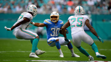 MIAMI, FLORIDA - SEPTEMBER 29: Austin Ekeler #30 of the Los Angeles Chargers runs with the ball in the first quarter against the Miami Dolphins at Hard Rock Stadium on September 29, 2019 in Miami, Florida. (Photo by Mark Brown/Getty Images)