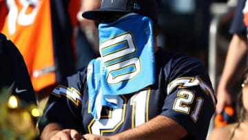 CARSON, CALIFORNIA - OCTOBER 06: A Los Angeles Chargers fan looks on during the second half of a game against the Denver Broncos at Dignity Health Sports Park on October 06, 2019 in Carson, California. (Photo by Sean M. Haffey/Getty Images)