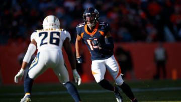 DENVER, CO - DECEMBER 01: Wide receiver Courtland Sutton #14 of the Denver Broncos runs a route against Cornerback Casey Hayward Jr. #26 of the Los Angeles Chargers during the first quarter at Empower Field at Mile High on December 1, 2019 in Denver, Colorado. The Broncos defeated the Chargers 23-20. (Photo by Justin Edmonds/Getty Images)
