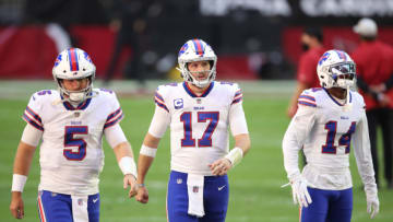 GLENDALE, ARIZONA - NOVEMBER 15: Quarterback Matt Barkley #5, quarterback Josh Allen #17, and wide receiver Stefon Diggs #14 of the Buffalo Bills look on during warmups before the game against the Arizona Cardinals at State Farm Stadium on November 15, 2020 in Glendale, Arizona. (Photo by Christian Petersen/Getty Images)