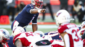 FOXBOROUGH, MASSACHUSETTS - NOVEMBER 29: Cam Newton #1 of the New England Patriots calls out a play during a game against the Arizona Cardinals at Gillette Stadium on November 29, 2020 in Foxborough, Massachusetts. (Photo by Adam Glanzman/Getty Images)