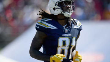 LOS ANGELES, CA - SEPTEMBER 23: Mike Williams #81 of the Los Angeles Chargers celebrates his touchdown during the first quarter of the game against the Los Angeles Rams at Los Angeles Memorial Coliseum on September 23, 2018 in Los Angeles, California. (Photo by Harry How/Getty Images)