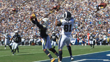 LOS ANGELES, CA - SEPTEMBER 23: Derwin James #33 of the Los Angeles Chargers intercepts the ball in front of Gerald Everett #81 of the Los Angeles Rams during the second quarter of the game at Los Angeles Memorial Coliseum on September 23, 2018 in Los Angeles, California. (Photo by Sean M. Haffey/Getty Images)