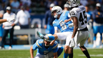 CARSON, CA - OCTOBER 07: Kicker Caleb Sturgis #6 of the Los Angeles Chargers kicks off in front of defensive back Dominique Rodgers-Cromartie #45 of the Oakland Raiders at StubHub Center on October 7, 2018 in Carson, California. (Photo by Sean M. Haffey/Getty Images)