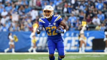 CARSON, CA - NOVEMBER 25: Justin Jackson #32 of the Los Angeles Chargers runs after his catch during the game against the Arizona Cardinals at StubHub Center on November 25, 2018 in Carson, California. (Photo by Harry How/Getty Images)