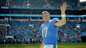 MIAMI, FLORIDA - SEPTEMBER 29: Philip Rivers #17 of the Los Angeles Chargers waves to the crowd against the Miami Dolphins during the fourth quarter at Hard Rock Stadium on September 29, 2019 in Miami, Florida. (Photo by Michael Reaves/Getty Images)