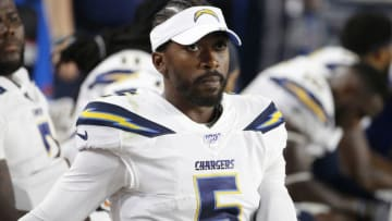 GLENDALE, ARIZONA - AUGUST 08: Quarterback Tyrod Taylor #5 of the Los Angeles Chargers looks on from the sideline during the first half of the NFL pre-season game against the Arizona Cardinals at State Farm Stadium on August 08, 2019 in Glendale, Arizona. (Photo by Ralph Freso/Getty Images)