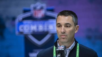 INDIANAPOLIS, IN - FEBRUARY 25: General manager Tom Telesco of the Los Angeles Chargers speaks to the media at the Indiana Convention Center on February 25, 2020 in Indianapolis, Indiana. (Photo by Michael Hickey/Getty Images) *** Local Capture *** Tom Telesco