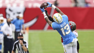 TAMPA, FLORIDA - OCTOBER 04: Keenan Allen #13 of the Los Angeles Chargers catches a pass during the second half of a game against the Tampa Bay Buccaneers at Raymond James Stadium on October 04, 2020 in Tampa, Florida. (Photo by James Gilbert/Getty Images)