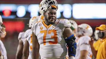 Trey Smith #73 of the Tennessee Volunteers (Photo by Wesley Hitt/Getty Images)