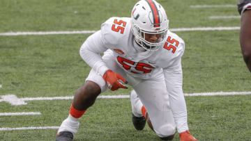 MOBILE, AL - JANUARY 30: Defensive Lineman Quincy Roche #55 from Miami of the American Team during the 2021 Resse's Senior Bowl at Hancock Whitney Stadium on the campus of the University of South Alabama on January 30, 2021 in Mobile, Alabama. The National Team defeated the American Team 27-24. (Photo by Don Juan Moore/Getty Images)
