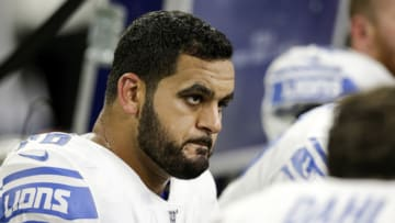 HOUSTON, TX - AUGUST 17: Oday Aboushi #76 of the Detroit Lions reacts on the sideline in the second half against the Houston Texans during the preseason game at NRG Stadium on August 17, 2019 in Houston, Texas. (Photo by Tim Warner/Getty Images)